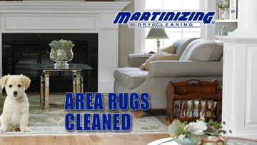 Martinizing Dry Cleaner Area Rugs photo of living room with puppy on an area rug
