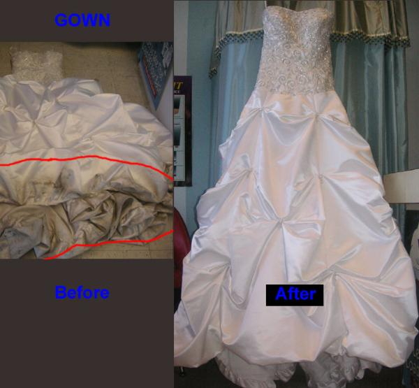 Evaluating wedding gown cleaning companies